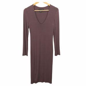 American Dream Brown V Neck  Bodycon Midi Dress M